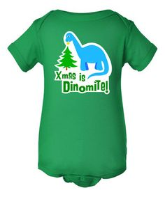 This Kelly Green 'Xmas is Dinomite' Bodysuit - Infant by INKtastic is perfect! #zulilyfinds