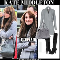 Kate Middleton in grey fitted wool Reiss coat, Aquatalia boots, Tods bag.