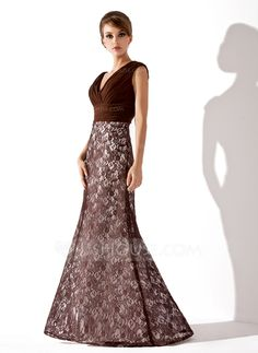 Trumpet/Mermaid V-neck Floor-Length Ruffle Zipper Up Cap Straps Sleeveless No Chocolate Spring Summer Fall Winter General Plus Lace Mother of the Bride Dress