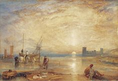 Flint Castle, 1838 - William Turner - Date: 1838 Style: Romanticism Genre: marina Media: watercolor, paper Location: Private Collection Tags: sun-and-moon, castles-and-fortresses, seas-and-oceans Joseph Mallord William Turner, Landscape Art, Landscape Paintings, Oil Paintings, Flint Castle, Art Romantique, Turner Painting, Painting Art, Venice Painting