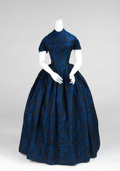 Evening dress Date: 1850–52 Culture: American Medium: silk
