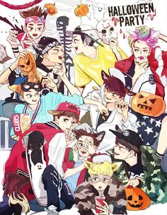 Exo halloween Kpop Exo, Exo Fan Art, Xiuchen, Bts Memes Hilarious, Best Kpop, Baekhyun Chanyeol, Spooky Scary, Bts And Exo, My Little Baby