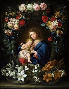 Ян Брейгель (Младший) - Мадонна с младенцем в цветочном картуше (совм  с Питером ван Авонтом). 97х74. Приват. Ян Младший Брейгель
