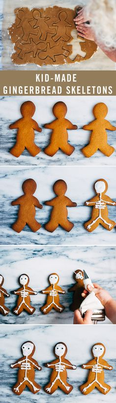 Gingerbread cookies are not just for Christmas! Gingerbread men may be reserved for the holidays, but this bone-ified gingerbread skeleton recipe is perfect for your Halloween festivities. Homemade Halloween Decorations, Halloween Cookies, Halloween Treats, Halloween Party, Gingerbread Men, Christmas Gingerbread, Gingerbread Cookies, Disney Halloween, Holidays Halloween