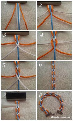How to understand crochet basics Diy Bracelets Patterns, Diy Bracelets Easy, Thread Bracelets, Bracelet Crafts, Braided Bracelets, Handmade Bracelets, Jewelry Crafts, Jewelry Knots, Fabric Jewelry