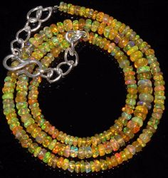 Natural Fire Ethiopian Opal Plain Rondelle Gemstone Loose Beads BU - 2 16 Inch Strand 3 to 9 mm Approx Wholesale Etiopian Opal Beads