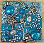 Polymer Clay Tile Mosaic Mosaic made with textured and foiled polymer clay tiles. The mosaic is on a distressed copper colored box. Mosaic Crafts, Mosaic Projects, Mosaic Art, Mosaic Glass, Mosaic Tiles, Art Projects, Stained Glass, Mosaic Bathroom, Design Bathroom