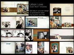 URBAN LOVE Wedding Guest Book Album Template for Photographers - 8x8 album -Photoshop PSD Files - Fully Customizable. $25.00, via Etsy.