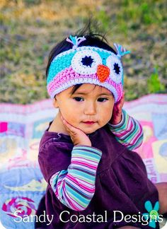 Crochet owl headband ear warmer pink by SandyCoastalDesigns