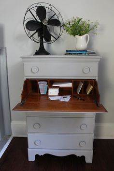 Annie Sloan Chalk Painted Dresser - Paris Grey. Love this vintage dresser and the surprise hidden desk!