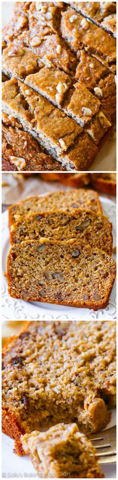 No butter, no oil, 100% whole wheat and actually tasting GOOD Whole Wheat Banana Bread. Seriously, it's wonderful! | sallysbakingaddiction.com