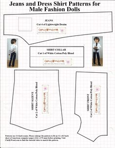 Free printable sewing patterns for dolls of many shapes and sizes (including Liv doll Jake) @ ChellyWood.com
