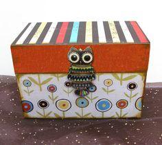 Buho receta caja grabado en madera personalizado y