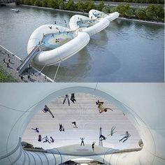"""""""Trampoline Bridge"""" over the Seine River in Paris. - É incrível. É inflável. Ele tem uma vista para a Torre Eiffel e certamente faria a Cidade das Luzes se sentir ainda mais leve. O único problema: ele realmente não existe."""