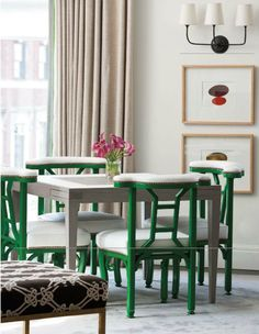 Kelly green chairs add pop to neutrals
