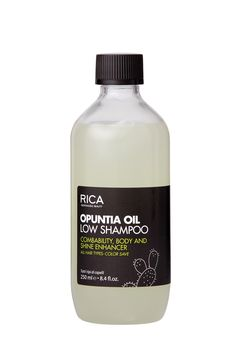 OPUNTIA OIL LOW SHAMPOO Shampoo with a soft and creamy texture suitable for all hair types, produces a gentle and delicate foam easy to rinse of and leave behind no residue thanks to the mild and hypoallergenic surfactants formula. The Opuntia Oil (prickly pear oil) toghe- ter with the hydrolyzate of Keratin and Vitamin E gives hair outstanding softness and managea- bility, shine and body.  #opuntiaoil #ricagroup #haircare #lowshampoo