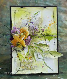 Art_Dorota (Dorota (Kopeć) Kotowicz: Z maskami od Agi Baraniak :) Paper Flowers Diy, Flower Cards, How To Make Scrapbook, Mixed Media Cards, Shabby Chic Cards, Pretty Cards, Mail Art, Creative Cards, Vintage Cards