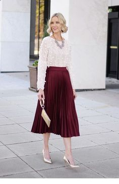 Get Ready to Shine with Vanity Fair Bralette - Straight A Style burgundy pleated midi skirt, white textured floral blouse, gold heels, statement necklace, holiday outfit idea Burgundy Skirt Outfit, Midi Skirt Outfit, Winter Skirt Outfit, Dress Outfits, Dress Skirt, Blouse Outfit, Green Skirt Outfits, Corset Dresses, Dress Shoes