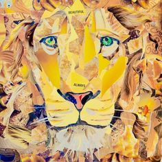 """""""Lion"""" a big collage by Michael F Manning. All glue on canvas, NOT mixed media. Only used photographs from magazines, no plain text or solid colors. This was a 12x12 canvas made for a small works art show, still Michael had the biggest dimension in the showcase."""
