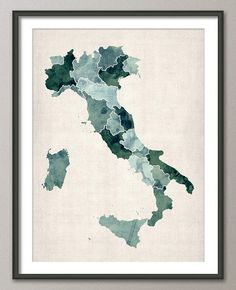 Italy Watercolor Map Art Print 18x24 inch 734 por artPause en Etsy, £14.99