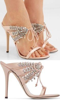 save off d5011 27771 Giuseppe Zanotti - Madelyn crystal-embellished satin mules