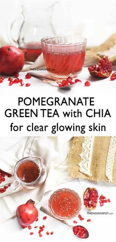 Green tea is one of the healthiest teas but having it in the same old form can get quite boring! You can instead have it cold and sweetened in the form of pomegranate green tea. Below is a delicious p Natural Hair Mask, Skin Tag Removal, Mouthwash, Glowing Skin, Baking Soda, Coconut Oil, Treats, Blog, Vegan Recipes