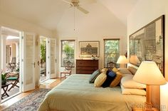 Tropical and tranquil, original art, soft muted colors, French doors all the way around open to the pool - Master bedroom cottage - Tropical ~ Tranquility | Key West Rentals