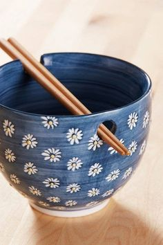 Noodle Bowl + Chopsticks Set Just add noodles to this patterned deep-dish ceramic bowl with a built-in resting place for included wooden chopsticks! Please note, the Celestial Noodle Bowl is not microwave safe. Pottery Bowls, Ceramic Pottery, Pottery Art, Ceramics Pottery Mugs, Pottery Gifts, Painted Pottery, Pottery Painting Designs, Pottery Designs, Pottery Ideas