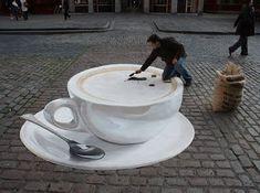 sidewalk optical illusion street teacup