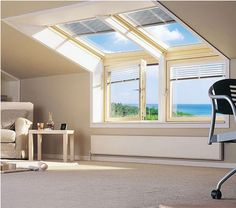 Velux Roof Window Fitting by Roof Windows fitters in West Midlands. Attic Loft, Loft Room, Bedroom Loft, Garage Attic, Attic Library, Attic House, Attic Ladder, Attic Spaces, Attic Rooms