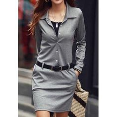 Casual Turn-Down Colllar Solid Color Long Sleeve Women's Dress   #americanstyle #beauty #diva #divadays #divastyle #dress #everydaystyle #fashion #fashionable #fashionista #fashionlove #FindMyStyle #followme #girlystyle #glam #killerstyle #lovemystyle #minidress #pretty #prettyfashion #shopping #style #styleme #stylemepretty #timelessstyle #womanofstyle #womenofstyle