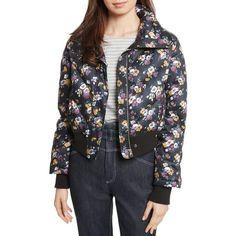 Women's La Vie Rebecca Taylor Winter Posey Jacket (5.356.200 IDR) ❤ liked on Polyvore featuring outerwear, jackets, black combo, floral bomber jackets, quilted bomber jackets, floral quilted jacket, collared bomber jacket and flower print jacket