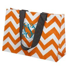 Love this cool orange tote in hot chevron pattern.  Thinking a pink monogram might be so cool....love that new color combination!