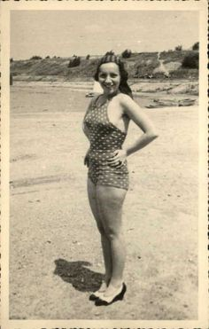 Sexy Woman Bathing Beauty on Beach Postcard