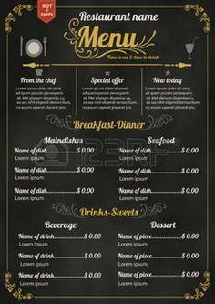 menu vintage: Restauration Menu design avec le fond Ardoise