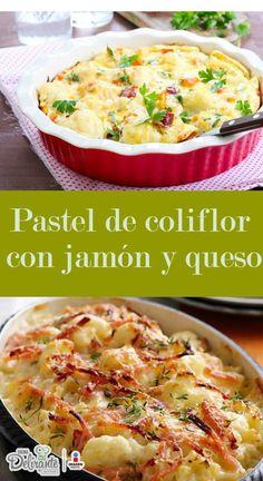 Preparación1. CORTA la coliflor en trocitos y ponla a hervir por 10 minutos con el cubo de caldo de verduras.2. PRECALIENTA el horno a 180° centígrados.3. ESCURRE la coliflor y reserva en un recipiente.4. BATE los huevos y añade la crema, la nuez moscada y la cucharada de fécula de maíz.5. VIERTE esta mezcla sobre la coliflor e incorpora el jamón, el queso, el jitomate y el perejil. Agrega sal y pimienta al gusto.6. ENGRASA un molde para pastel y vacía la mezcla.