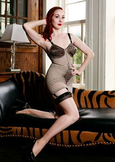 Retro shape wear mocha floral lace extra firm powernet body shaper with attached garters at Kuhmillion.com