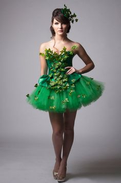 Size Medium Poison Ivy Green Dress Costume by MilaHoffmanCouture