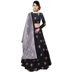 Shop RR Crafts&Creations Western Lehenga Choli, Women's Silk Lehenga Choli (Blue, Free Size, Semi-Stitched) Choli, Special for Diwali Festival Sale (Navy Blue). Free delivery and returns on eligible orders. Lehenga Choli Online, Lehenga Blouse, Silk Lehenga, Bridal Lehenga, Silk Dupatta, Lengha Choli, Navy Blue Lehenga, Ethnic Gown, Embroidered Silk