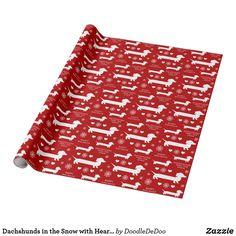 Christmas paper for Dachshund / Doxie lovers. Dachshunds, snowflakes and hearts. The background color and texts can be customized. Size: x Gender: unisex. Christmas Paper, Christmas Wrapping, Doodle, Dog Birthday, Custom Wrapping Paper, Dachshunds, Colorful Backgrounds, Wraps, Hearts