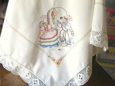 Vintage Table Cloth, Embroidered, Mexican Mandolin Player Senorita,Unbleached Muslin, Deep Crochet Lace,