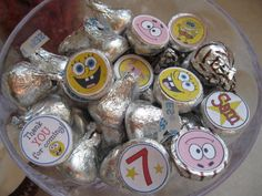 100 Personalized -Spongebob Squarepants - candy stickers-goody bags- Birthday party-hershey kiss stickers-shipped ready to use -cupcake qt. $9.95, via Etsy.
