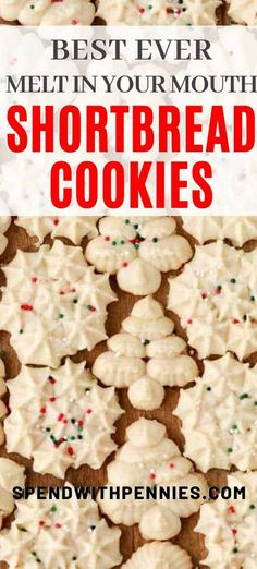 shortbread cookies This easy shortbread cookie recipe is a Christmas classic. They are soft, buttery, melt in your mouth cookies that my whole family loves. We make these with a cookie press, top with sprinkles, and even something with icing! Best Shortbread Cookie Recipe, Shortbread Cookies With Icing, Spritz Cookies, Shortbread Recipes, Easy Cookie Recipes, Yummy Cookies, Holiday Cookies, Easy Spritz Cookie Recipe, Christmas Shortbread Cookies