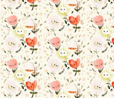 Dreamy Spring - Happy Flowers fabric by babybubbleco on Spoonflower - selbstentworfener Stoff