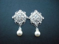 "20 OFF  Claire Bridal Earrings Rhinestone Crystal by blissbridal1, $46.40******1.58"" Model"