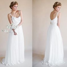 Simple Design Sheath White Chiffon Wedding Party Dresses For Beach Wedding, WD0104