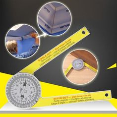 This Professional Miter Protractor eliminates calculations, reduces errors, and provides greater accuracy for a miter cut. Woodworking Projects Diy, Diy Wood Projects, Woodworking Tools, Protractor, Construction Tools, Cool Gadgets To Buy, Diy Home Repair, Garage Tools, Homemade Tools