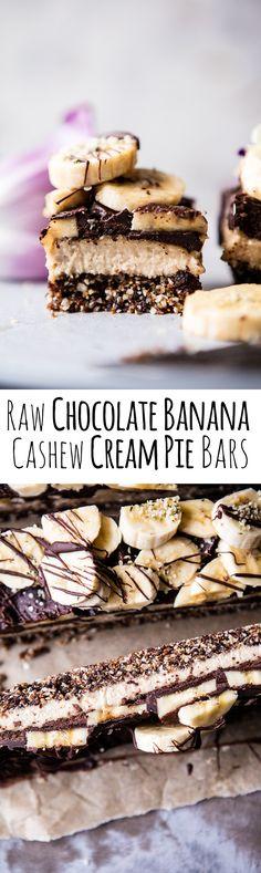 Raw Chocolate Banana Cashew Cream Pie Bars   halfbakedharvest.com @hbharvest