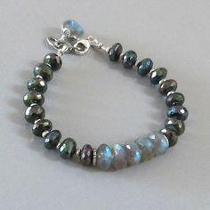 Mystic Spinel Labradorite Bracelet Sterling Silver Bead DJStrang Color Flashing Gemstone Boho Cottage Chic Spectrolite Chatoyance Chatoyant