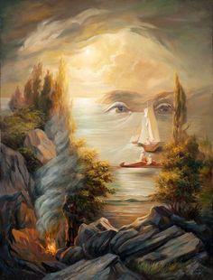 Title unknown -- Optical Illusion--Art -- by Oleg Shuplyak (Ukrainian, Optical Illusion Paintings, Amazing Optical Illusions, Optical Illusions Pictures, Illusion Pictures, Illusion Drawings, Art Optical, Illusion Kunst, Illusion Art, Fantasy Kunst